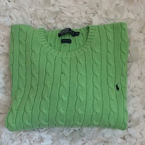 Ralph Lauren polo cable knit sweater lime green